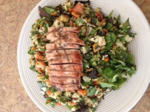 grilled wild boar and salad