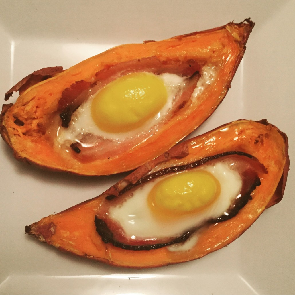 bacon and egg in sweet potato